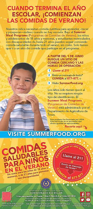 parent information for school meals in spanish